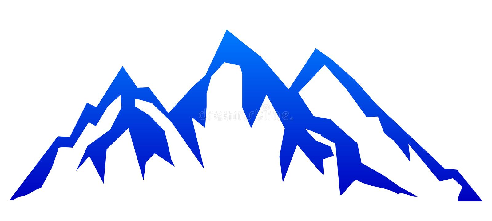 Silhouette blue mountain with three peaks on white background  for stock stock image