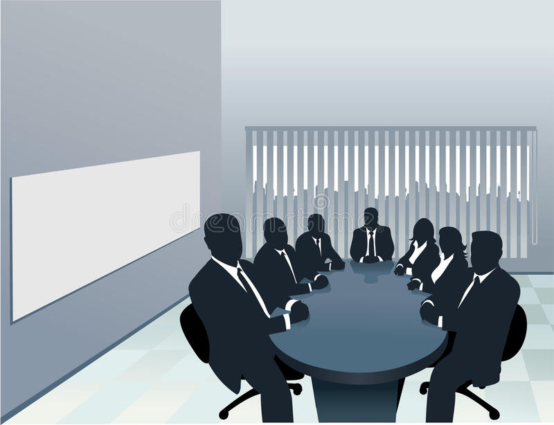 Silhouette Of A Board Room Stock Vector Illustration Of