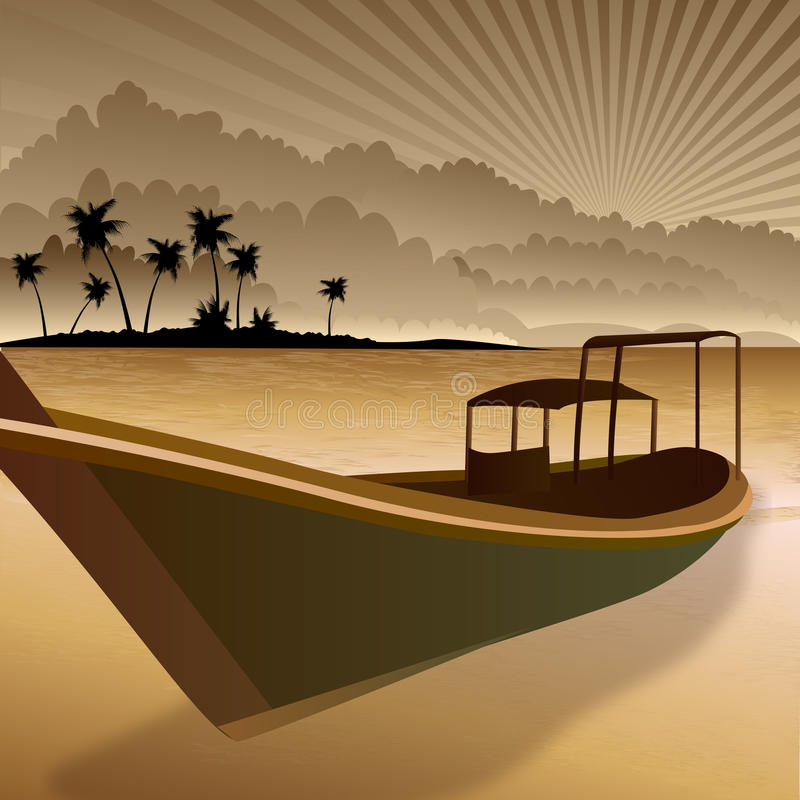 Silhouette of boat vector illustration
