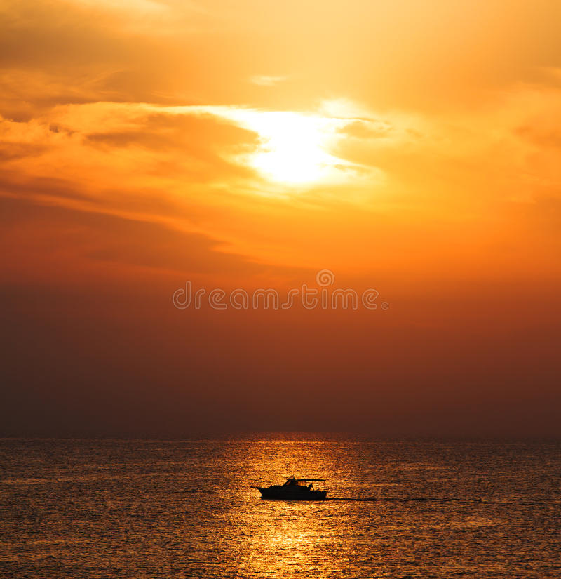 Download Silhouette Boat on sunrise stock image. Image of reflection - 26856011