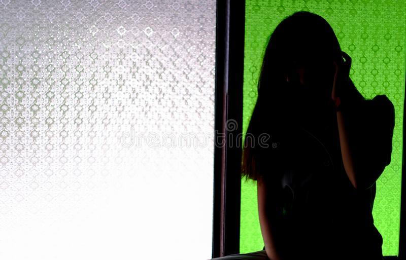 silhouette of body shape with light stock photos
