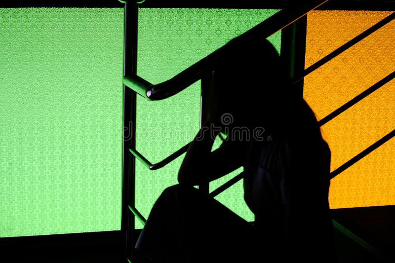 silhouette of body shape with light royalty free stock images