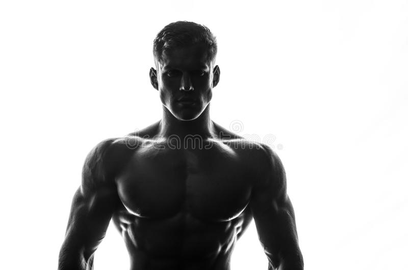 Silhouette of a bodybuilder stock photography