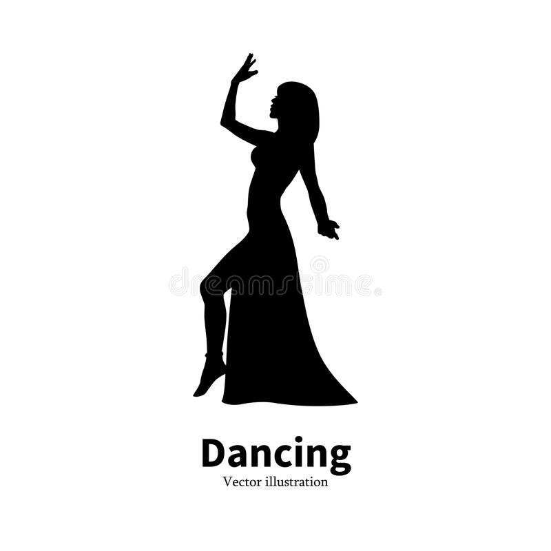 Silhouette Bollywood Eastern belly dancing girl stock illustration