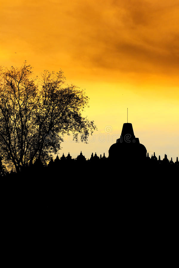 Silhouette of the Borobudur Temple stock photos