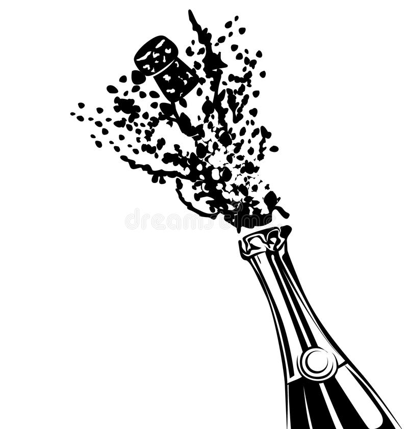 Silhouette of a bottle of champagne stock illustration