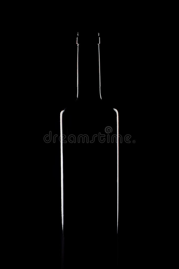 Silhouette of a bottle of wine isolated on black