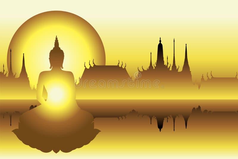 Silhouette Bouddha avec le temple d'or illustration libre de droits