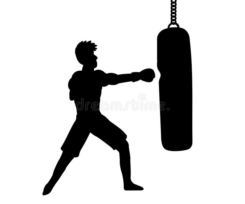 Silhouette of boxer and punching bag royalty free stock image