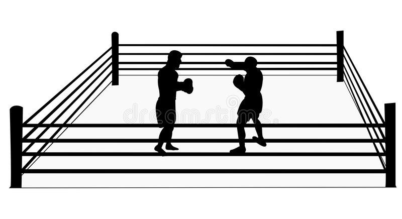 Silhouette of boxers in ring royalty free stock photo