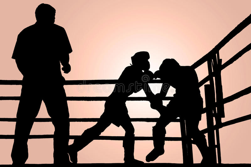 Download Silhouette boxing fight stock photo. Image of challenge - 24067348