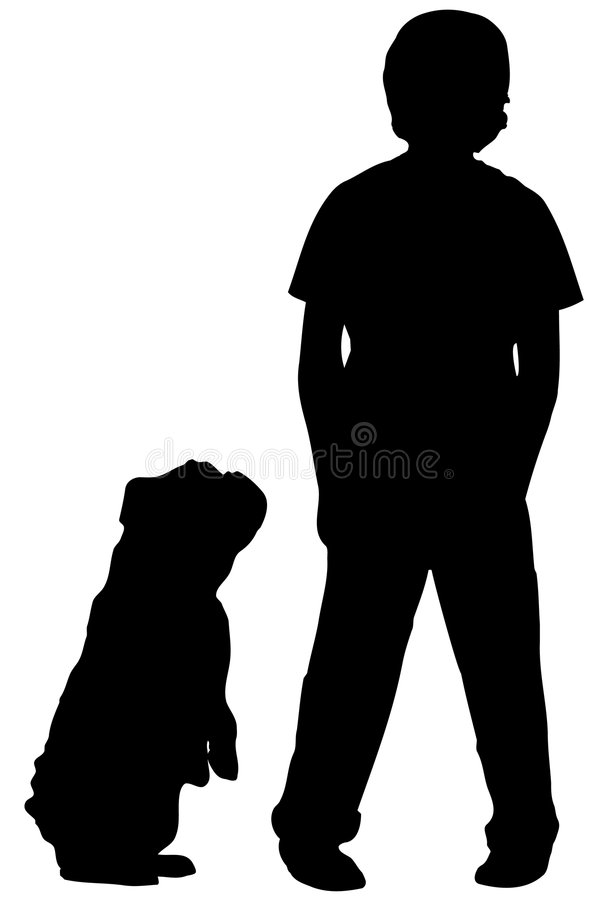 Silhouette of boy and dog. Silhouette of boy standing with dog begging at his side stock illustration