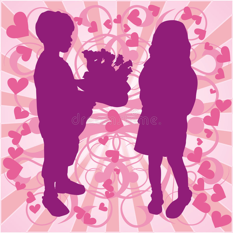 Silhouette boy & girl, love illustration, vector royalty free illustration