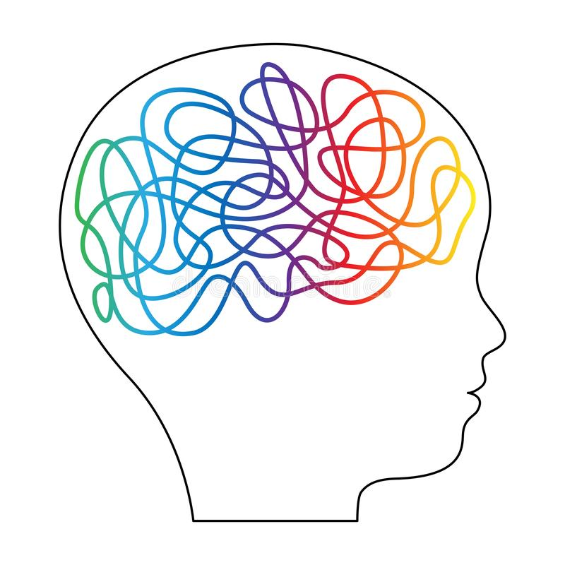 Silhouette of boy, kid, child, person with threads of interconnections in his head. Creativity, education concept. Vector. Silhouette of boy, kid, child, person stock illustration