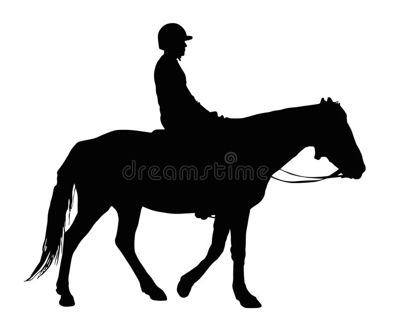 Silhouette of Boy with Protective Helmet Riding Horse. Detailed Silhouette of Boy with Protective Helmet Riding Horse vector illustration
