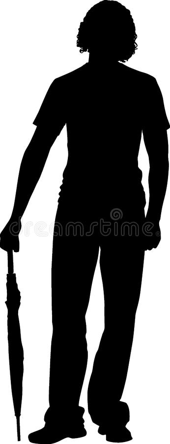 Silhouette boy with umbrella royalty free stock image