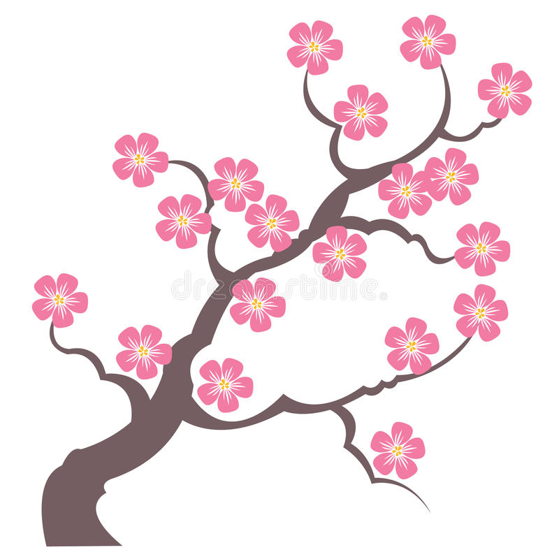 Silhouette branches of sakura vector illustration