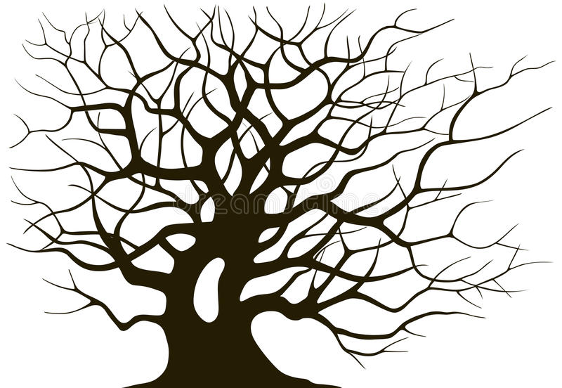 Silhouette branching of an old tree. On a light background vector illustration