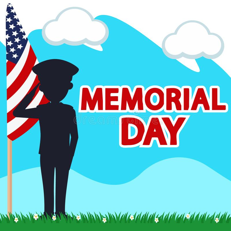 Silhouette of a brave soldier next to the us flag. Happy Memorial Day stock illustration