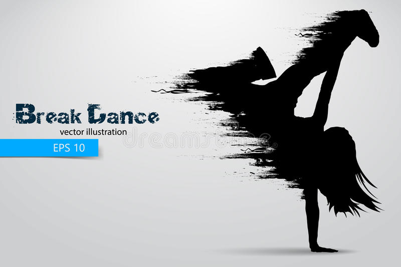 Silhouette of a break dancer from particles. Vector illustration. Silhouette of a break dancer from particles. Background and text on a separate layer, color can
