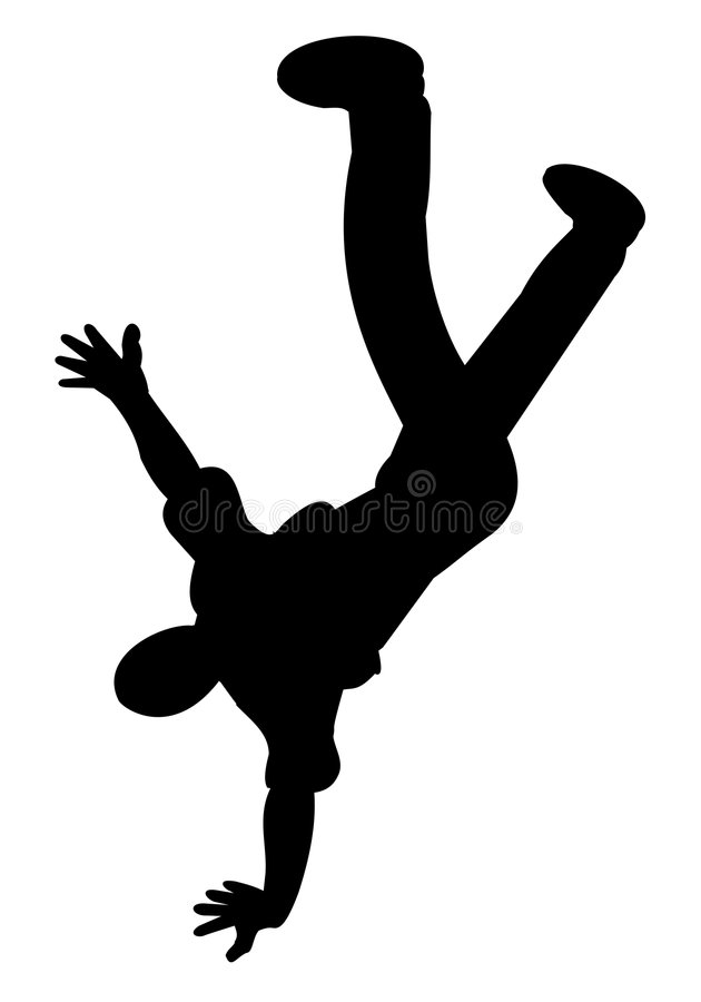 Silhouette of breakdancer royalty free stock photography