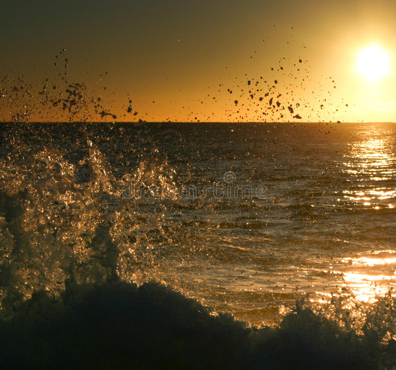 Silhouette Of A Breaking Wave Royalty Free Stock Image