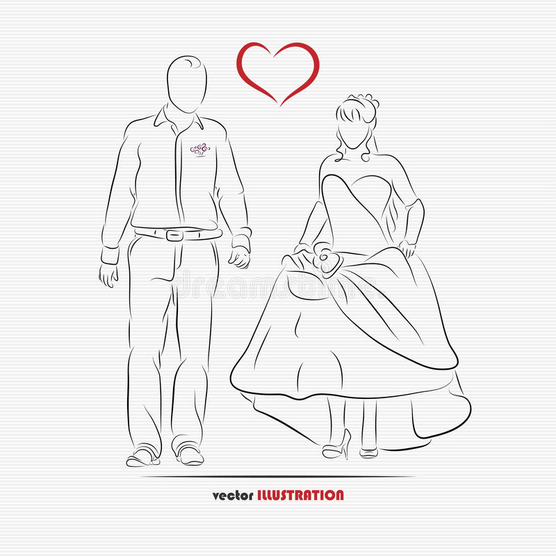 Download Silhouette Of Bride And Groom Stock Vector - Image: 42293060