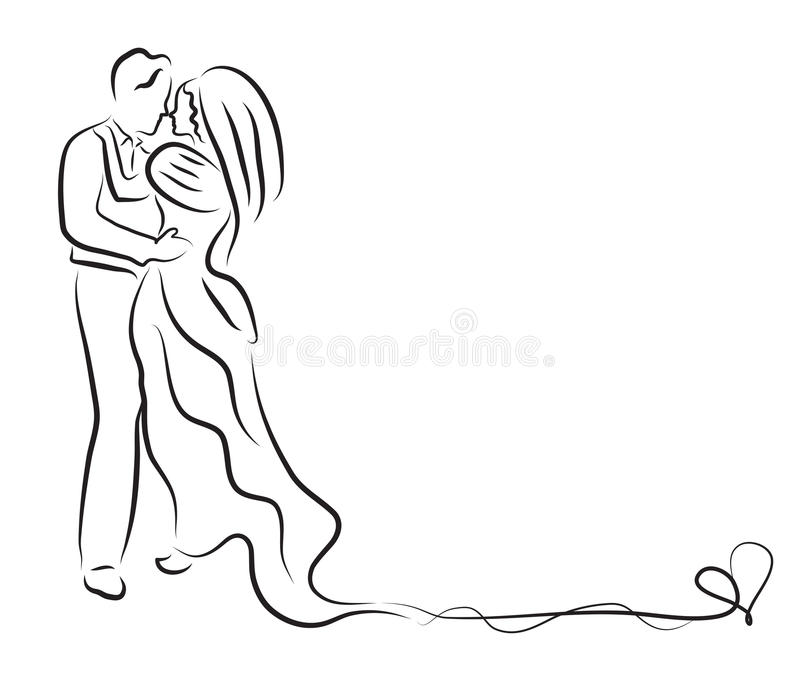 Silhouette of bride and groom, newlyweds sketch, hand drawing, wedding invitation, vector illustration stock illustration