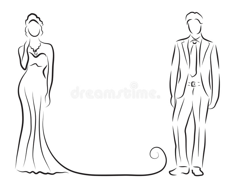 Silhouette of bride and groom, newlyweds sketch, hand drawing, wedding invitation, vector illustration vector illustration