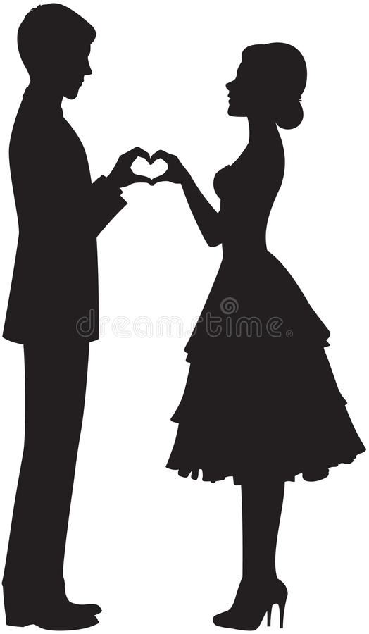 Silhouette of bride and groom vector illustration