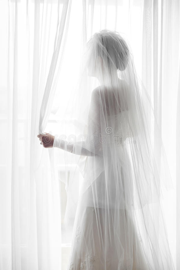 Silhouette Of A Bride Royalty Free Stock Image