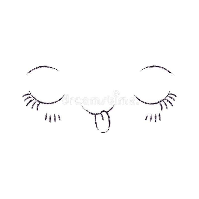 Silhouette brouillée monochrome de flirt de kawaii d'expression du visage illustration de vecteur