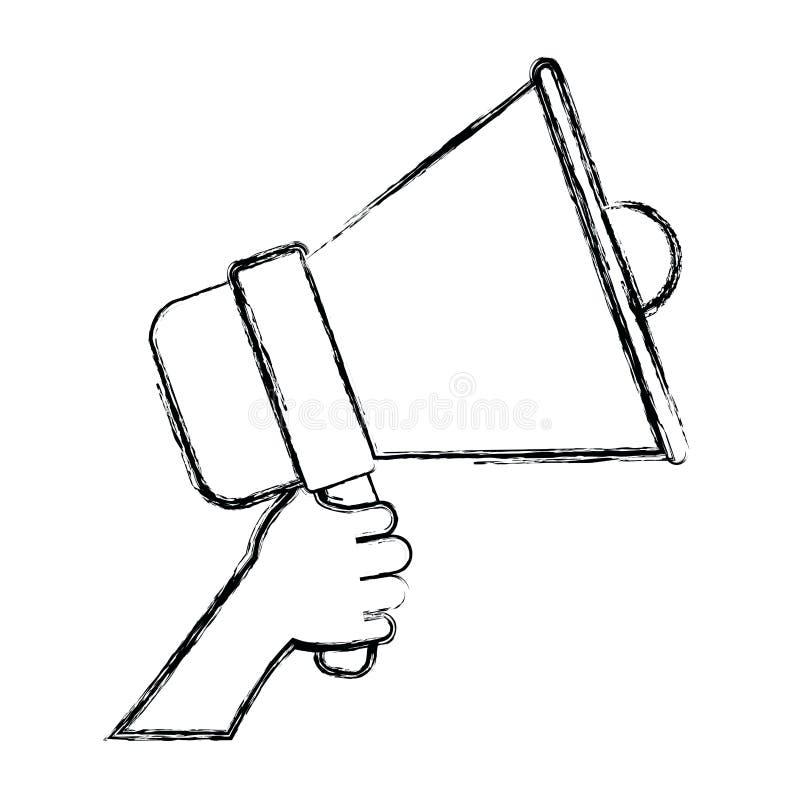 Silhouette brouillée monochrome de main tenant le dispositif sain illustration de vecteur