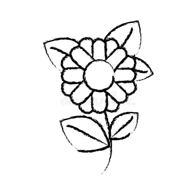 Silhouette brouillée monochrome de tournesol abstrait de tige et de feuilles en plan rapproché illustration stock