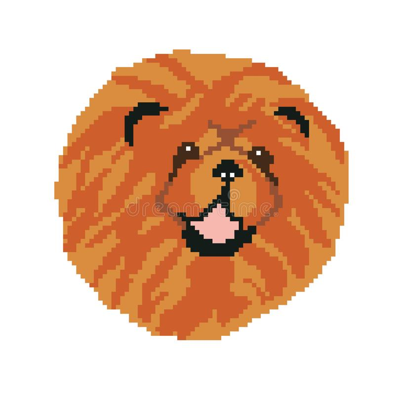 Silhouette of a brown breed dog. Chow chow snout, head drawn in squares, pixels. The image of the muzzle of the breed brown Chow stock illustration