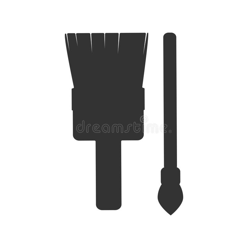 Silhouette brush painting construction tools. Isolated black royalty free illustration
