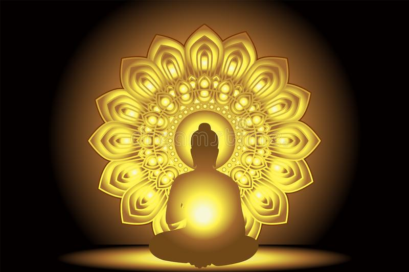 Silhouette Buddha Siddhartha gautama with golden abstract star. And background Light glowing royalty free illustration