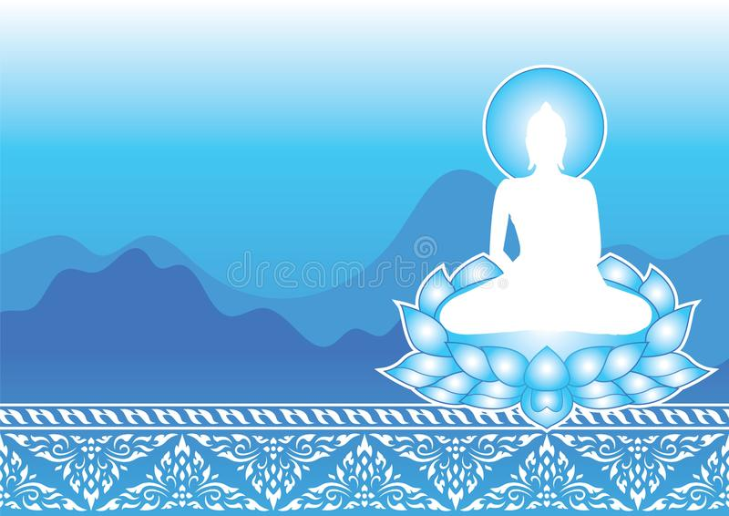 Silhouette Buddha Siddhartha Gautama sit on lotus with traditional ground and mountain background. Silhouette buddha siddhartha gautama sit lotus traditional vector illustration