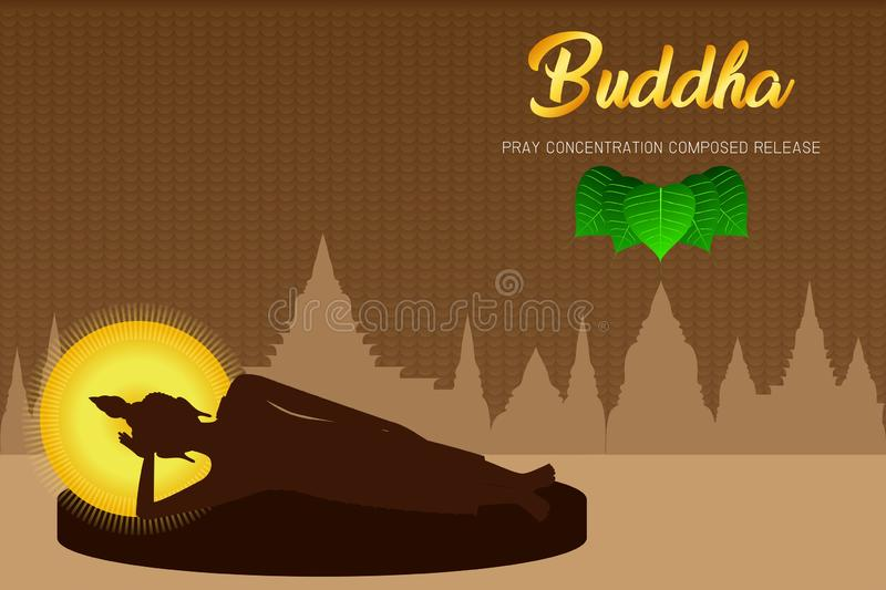 Silhouette buddha sleep monk phra pray concentration composed release front of pho leaf religion culture faith  illustration. Silhouette buddha sleep monk phra stock illustration