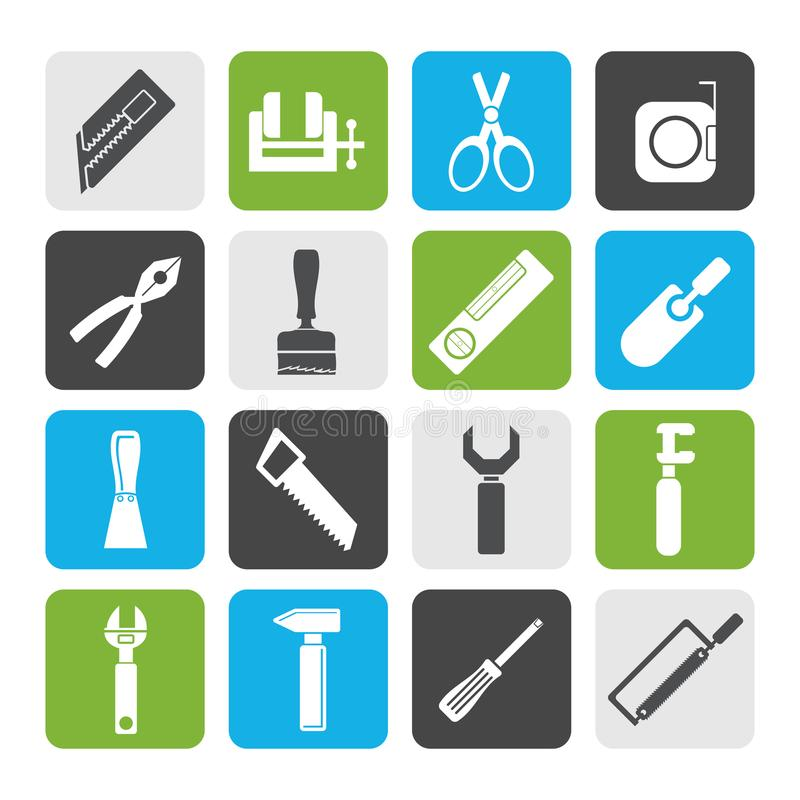 Silhouette Building and Construction Tools icons. Vector Icon Set stock illustration