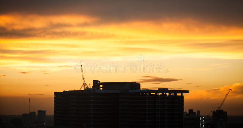 Silhouette Building In The Dawn Stock Photos