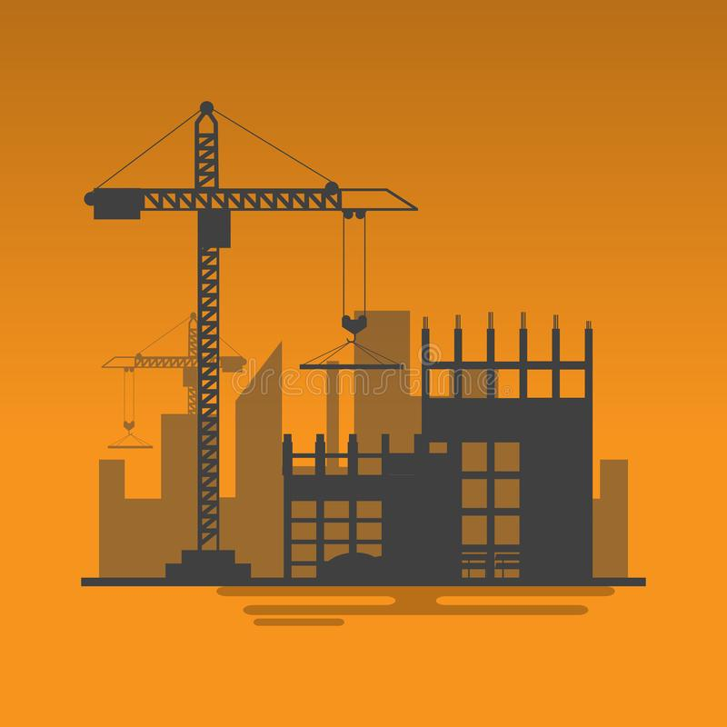 Silhouette building site work process under construction with cr. Anes and machines.Vector illustration royalty free illustration