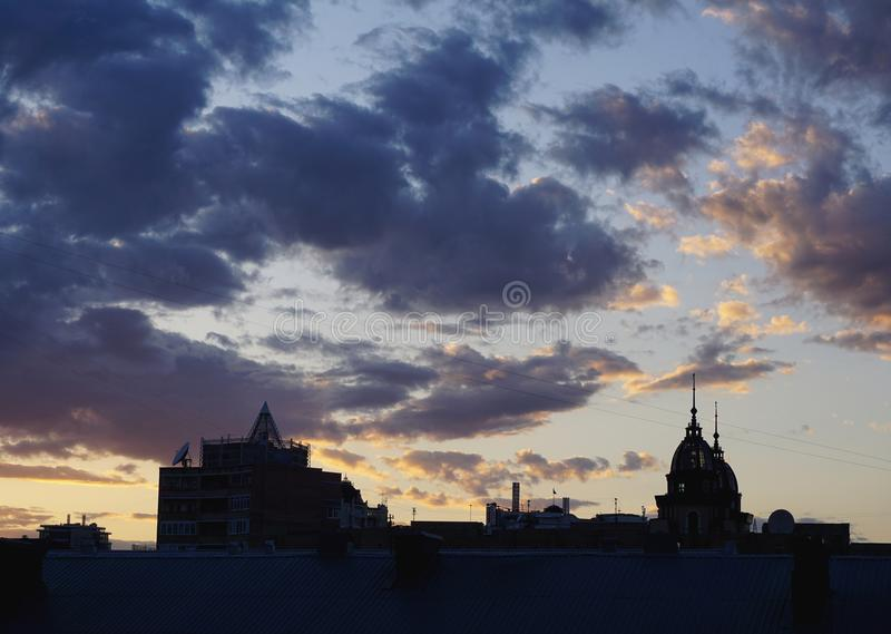 Silhouette buildings. Kiev, Kyiv, Ukraine. Blue hour, blue clouds on sunset time. Black silhouette buildings with roof. Kiev, Kyiv, Ukraine. Blue hour, blue royalty free stock photography