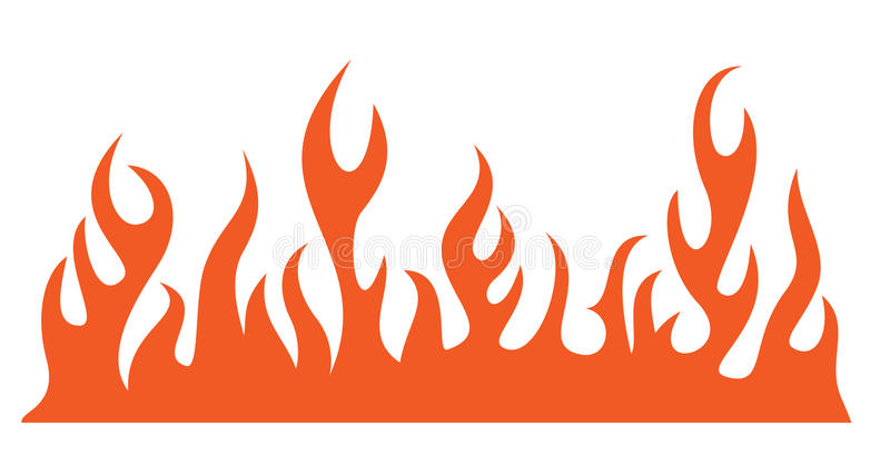 Silhouette of burning fire flame stock illustration