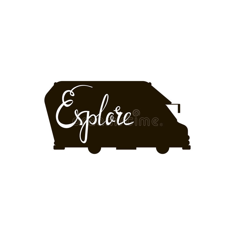 Silhouette of a bus with an inscription explore. vector illustration