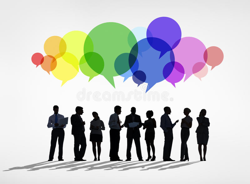 Silhouette of Business Communications Group stock image
