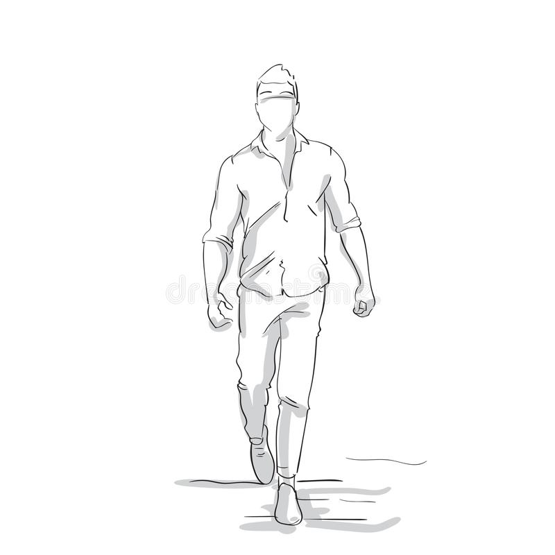 Silhouette Business Man Making Step Forward Sketch Businessman Full Length Figure On White Background royalty free illustration