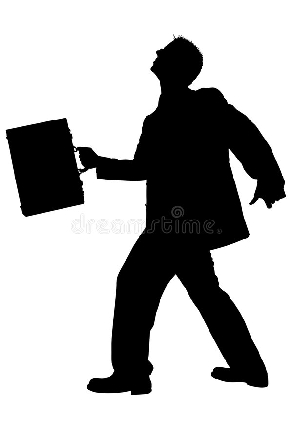 Silhouette of Business Man Walking With Briefcase With Clipping stock photography