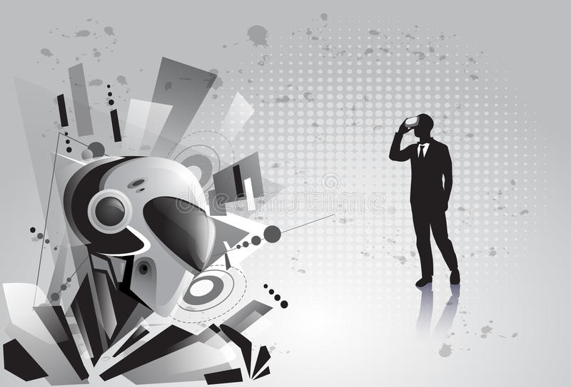 Silhouette Business Man Wear Virtual Reality Digital Glasses See Modern Robot royalty free illustration