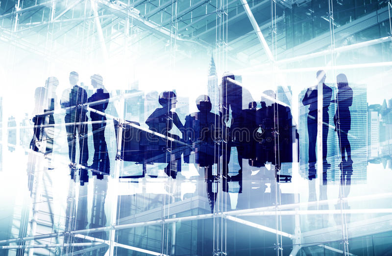 Silhouette Business People Corporate Connection Concept. Silhouette Business People Corporate Connection Discussion Meeting Concept royalty free stock photography